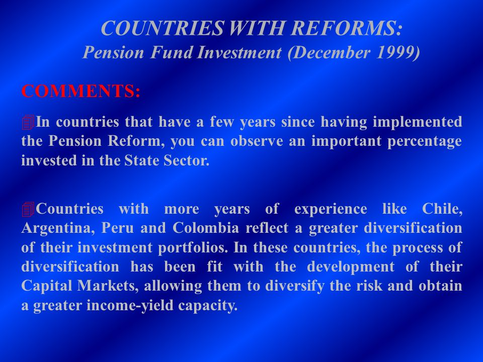 COUNTRIES WITH REFORMS: Pension Fund Investment (December 1999)