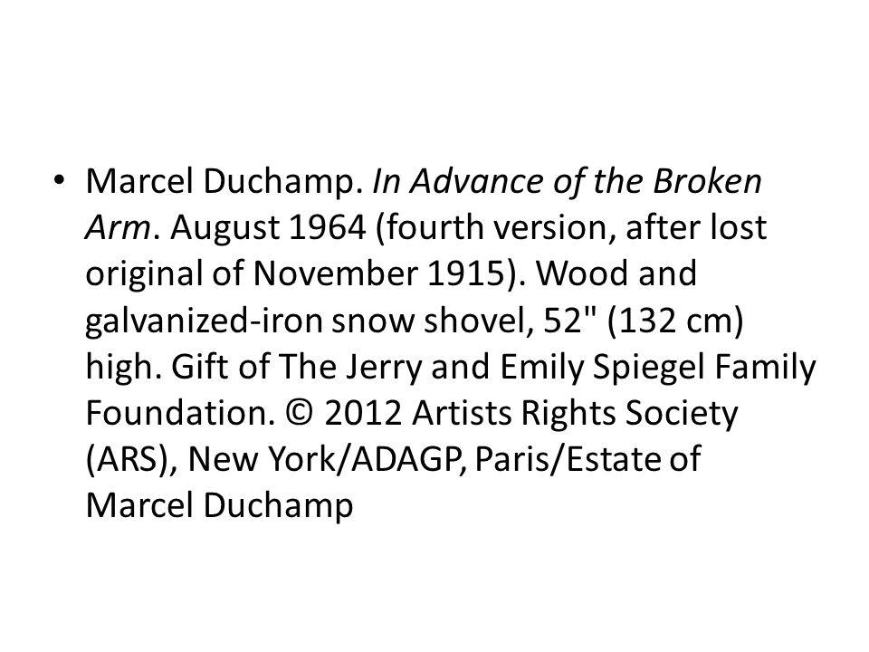 Duchamp In Advance Of A Broken Arm