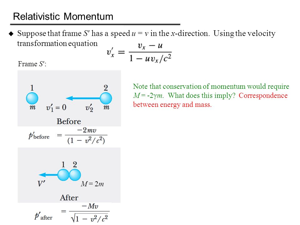 velocity and momentum conservation equation