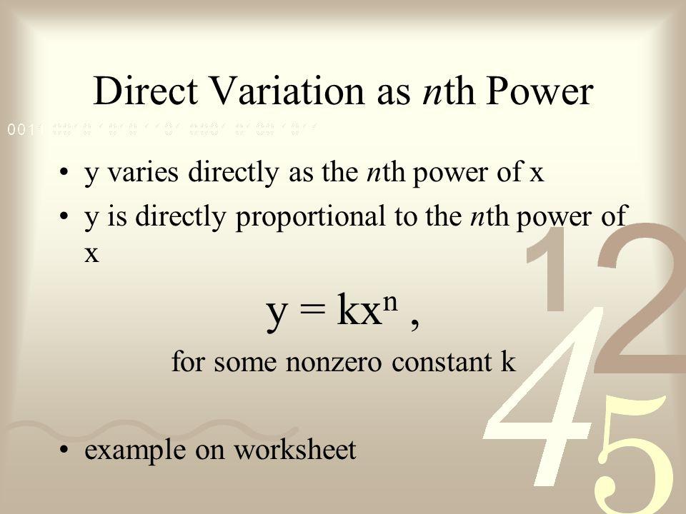 Section 16 Mathematical Modeling ppt download – Variation Worksheet
