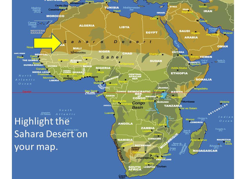 africa map sahara desert physical
