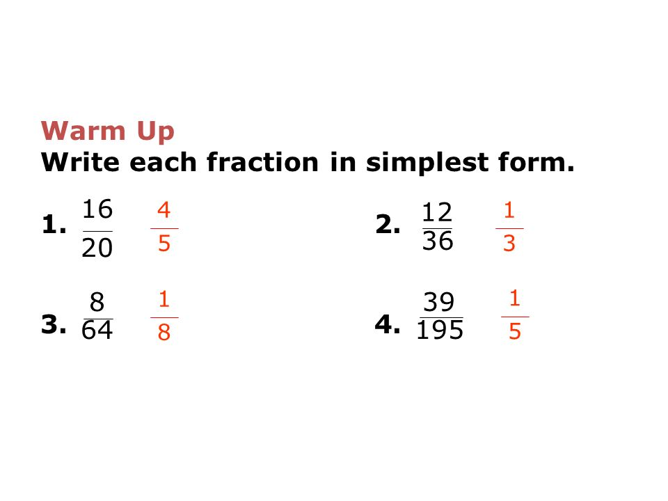 write each percent as a fraction in simplest form Converting percents and fractions  the next steps is to simplify the fraction  we want to have a denominator of 100 so that we can easily write as a percent.