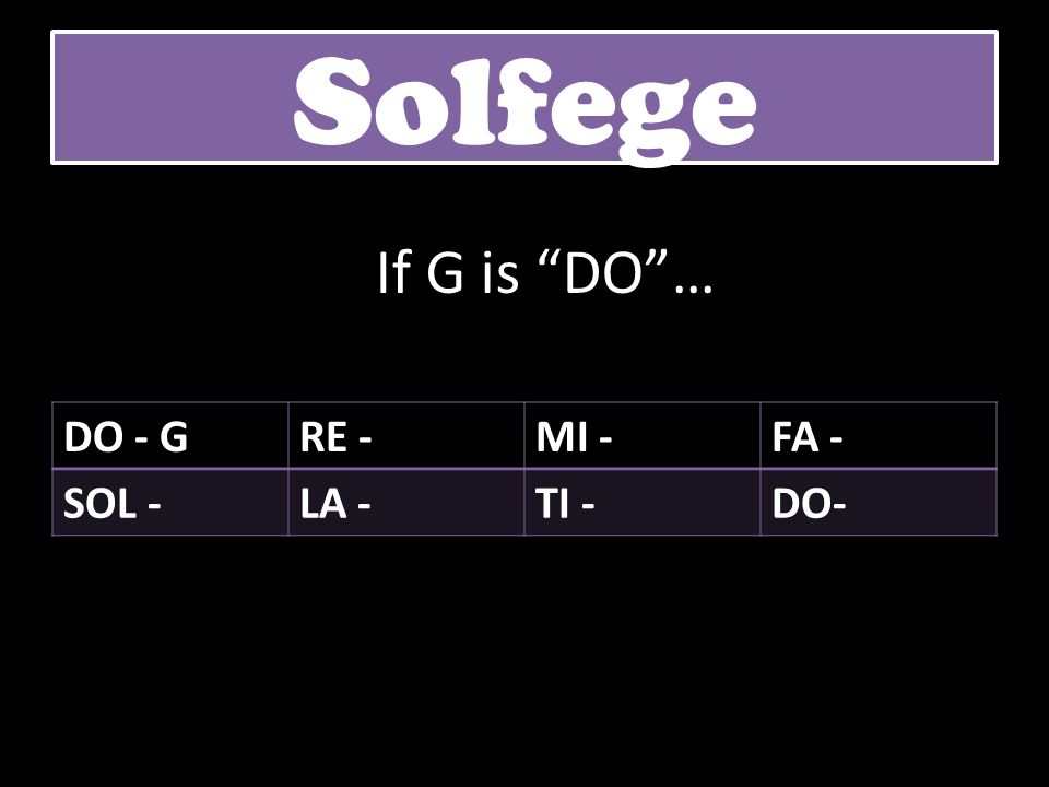 Solfege If G is DO … DO - G RE - MI - FA - SOL - LA - TI - DO-