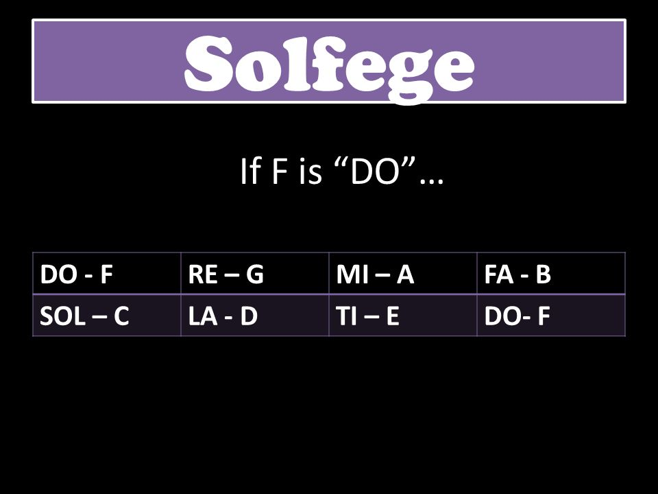 Solfege If F is DO … DO - F RE – G MI – A FA - B SOL – C LA - D