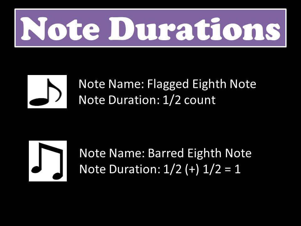 Note Durations Note Name: Flagged Eighth Note Note Duration: 1/2 count