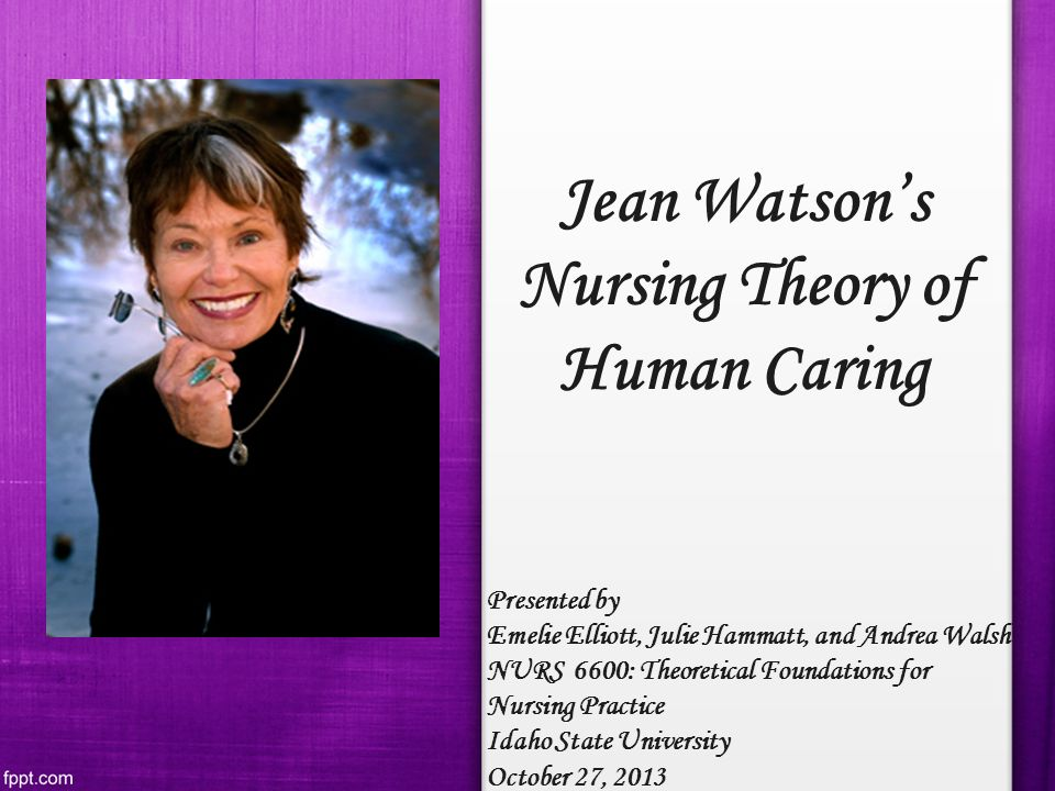 theory nursing and jean watson As a nurse establishing a caring relationship with a client is not easy jean watson was the developer of a theory, which emphasizes how nurses express care to their patients in this paper the author will discuss jean watson's theory, background, descriptions of her four concepts environment, human being, nursing, and health, also describe.