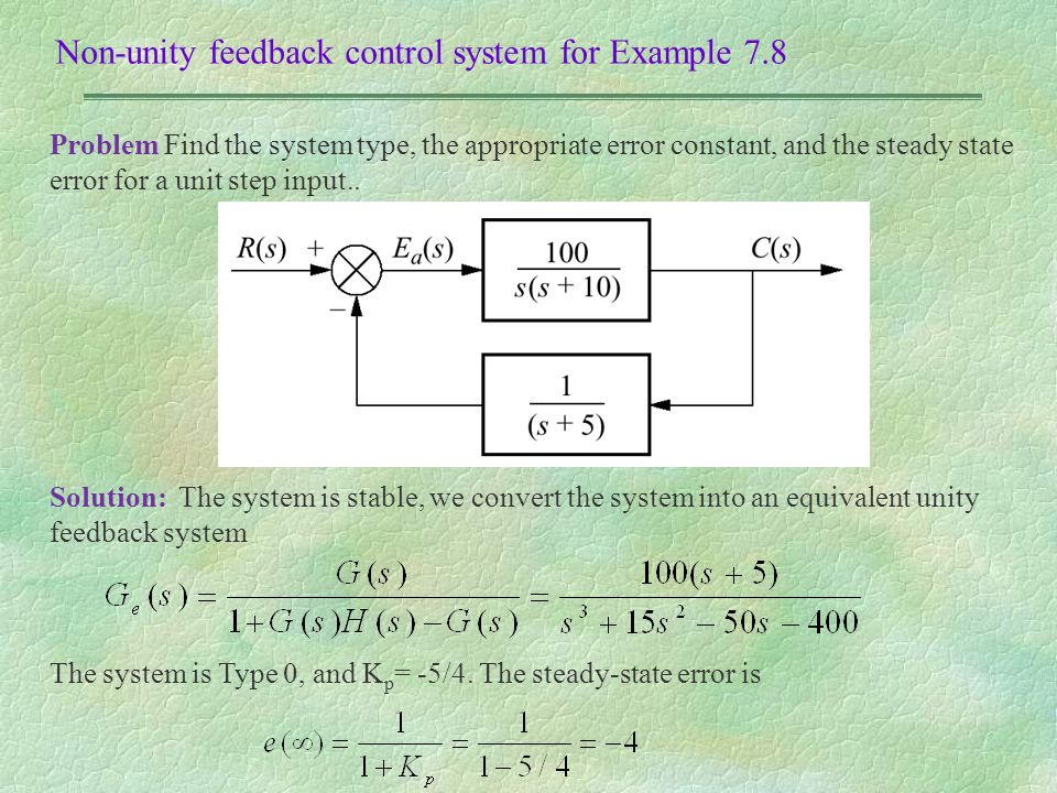 Chapter 7 steady state error 41 ppt video online download non unity feedback control system for example 78 ccuart Image collections