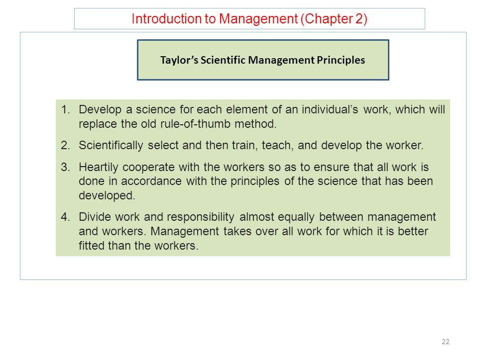 Taylor's Scientific Management Principles