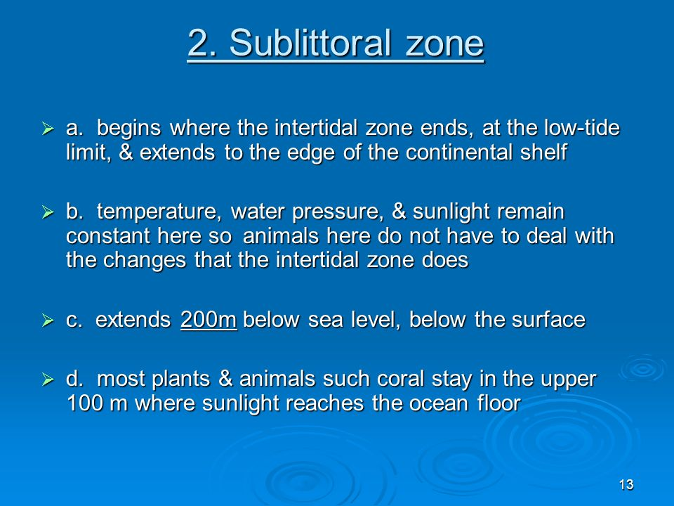 2. Sublittoral zone a. begins where the intertidal zone ends, at the low-tide limit, & extends to the edge of the continental shelf.