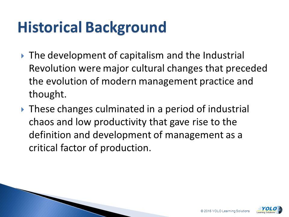 historical development and evolution of management The historical development of the strategic management concept created date: 20160810061420z.