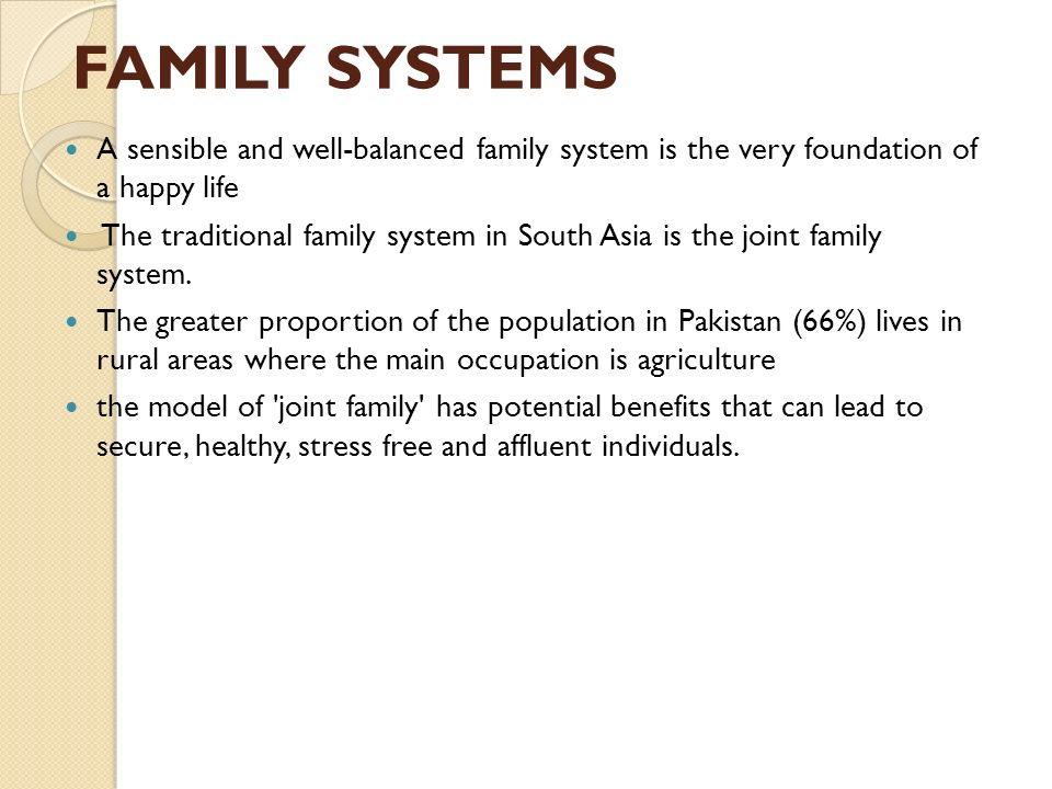 "joint family system Benefits yes, and you have two answers already i don't wish to repeat the same points of so called ""benefits"" i wanna say something opposite i'll will keep it short."