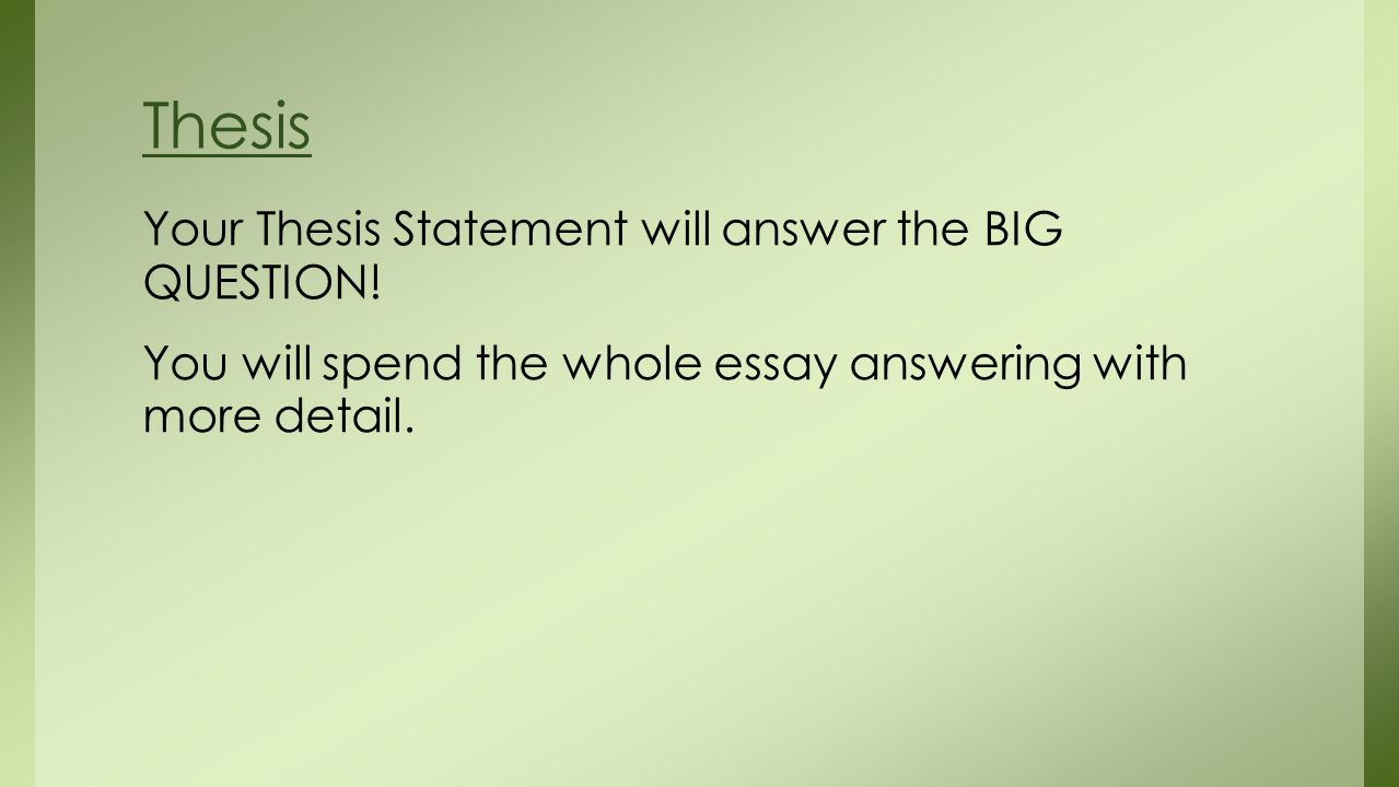 thesis statement question answer A thesis statement is one sentence that expresses the main idea of a research  paper or essay it makes a claim, directly answering a question a thesis  statement.