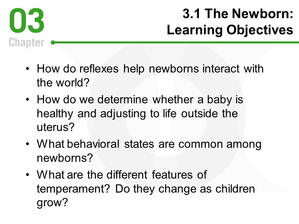 3.1 The Newborn: Learning Objectives