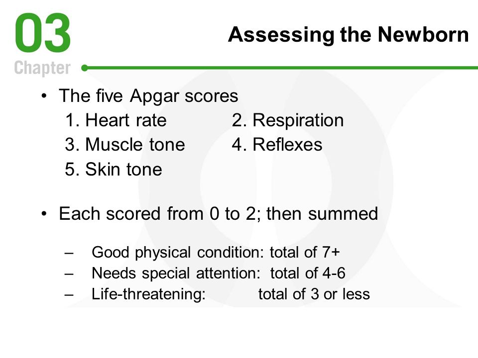 Assessing the Newborn The five Apgar scores