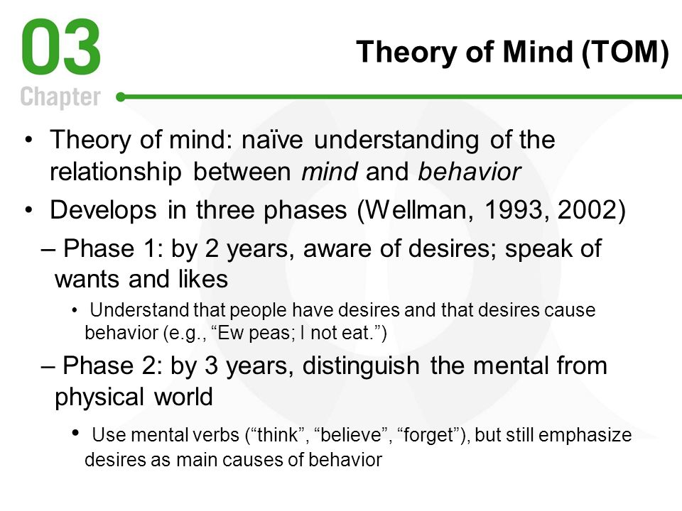Theory of Mind (TOM) Theory of mind: naïve understanding of the relationship between mind and behavior.