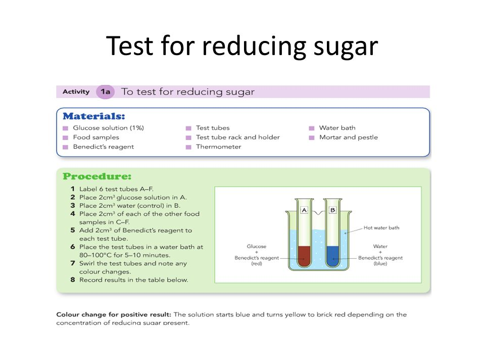 test for reducing sugars benedicts test essay Benedict's test for reducing sugar: reducing sugars include all monosaccharides (glucose) and some disaccharides (maltose) benedict's solution contains copper sulphates reducing sugars reduce copper(2) ions present in the blue copper sulphate solution to insoluble red brown precipitates.