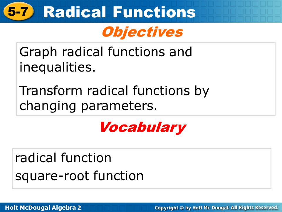 Warm up identify the domain and range of each function ppt download objectives vocabulary graph radical functions and inequalities ccuart Image collections