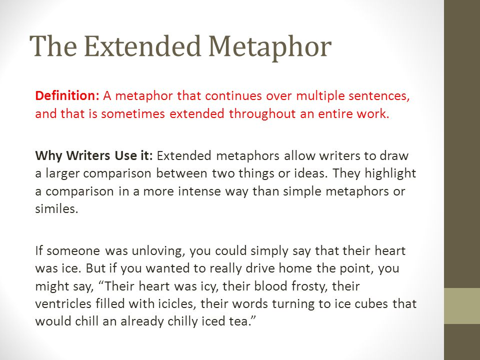 The entire essay is based on an extended metaphor or analogy. what is the metaphor