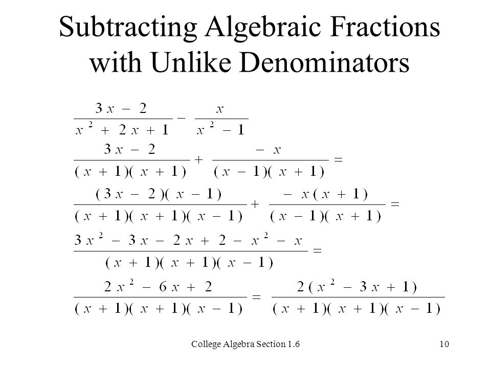 Addition And Subtraction Of Algebraic Fractions Worksheet & Adding