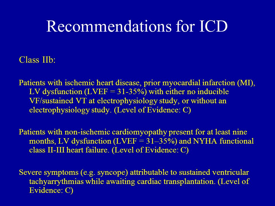 Recommendations for ICD