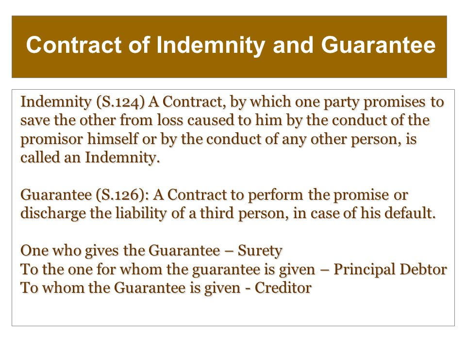 Indemnity and Guarantee - Academike