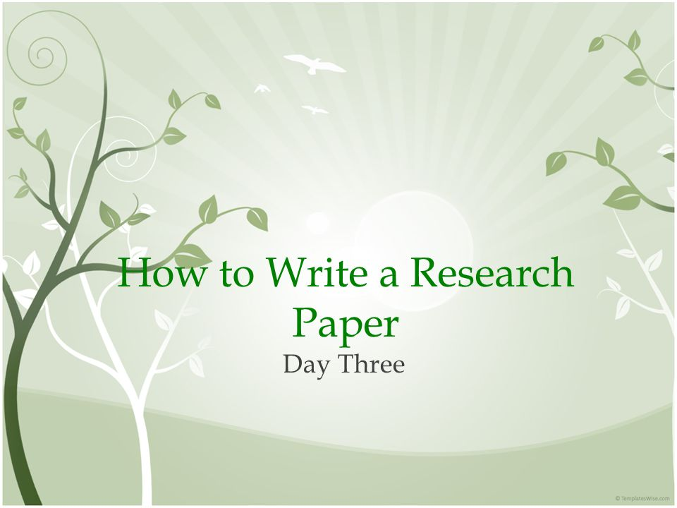 how to write a research paper in a day
