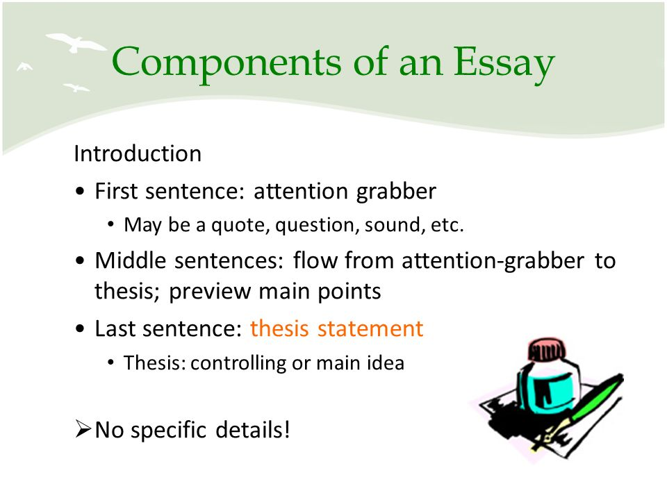 components of essay introduction Format of descriptive essays whenever you need to write a descriptive essay, you need to know how to choose the right format for essays of this type it is not that difficult as the structure of such papers consists of three major parts only: introduction, body, and conclusion.