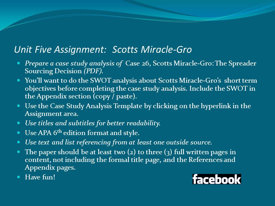 case study anlaysis and swot analysis of scotts miracle gro Analyze historical performance, strategic priorities, and business improvement   the scotts miracle-gro company manufactures, markets, and sells consumer.