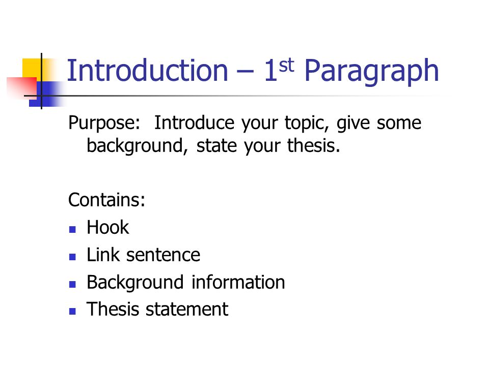 hook thesis background Learn paragraph 5 essay format with free interactive flashcards choose from 244 different sets of paragraph 5 essay format flashcards on quizlet.