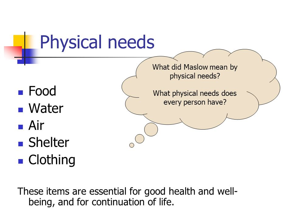 Physical needs Food Water Air Shelter Clothing