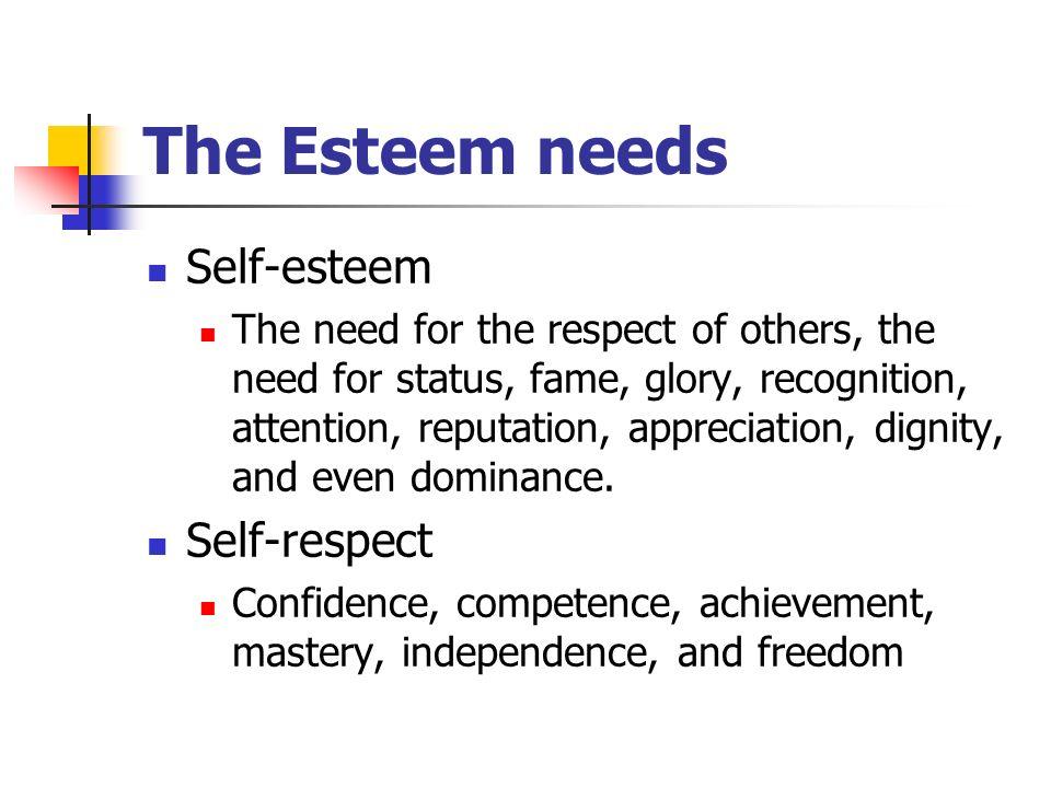 The Esteem needs Self-esteem Self-respect