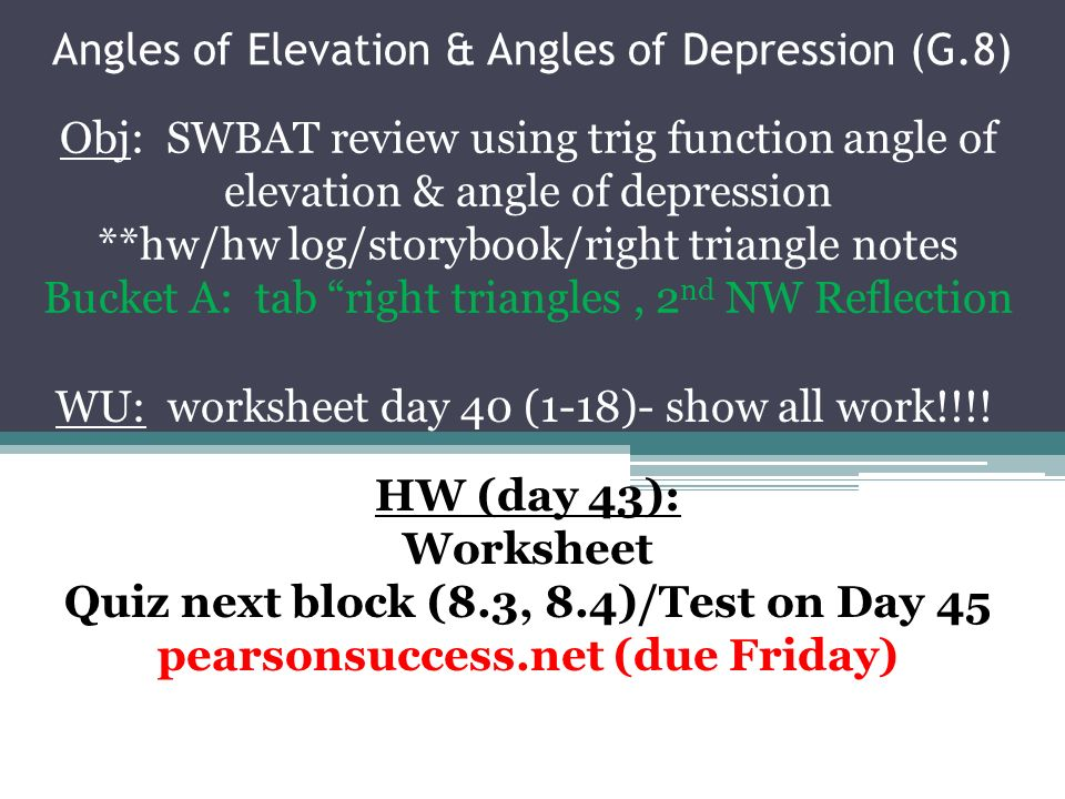 Angles of Elevation Angles of Depression G8 ppt video – Angle of Elevation Worksheet