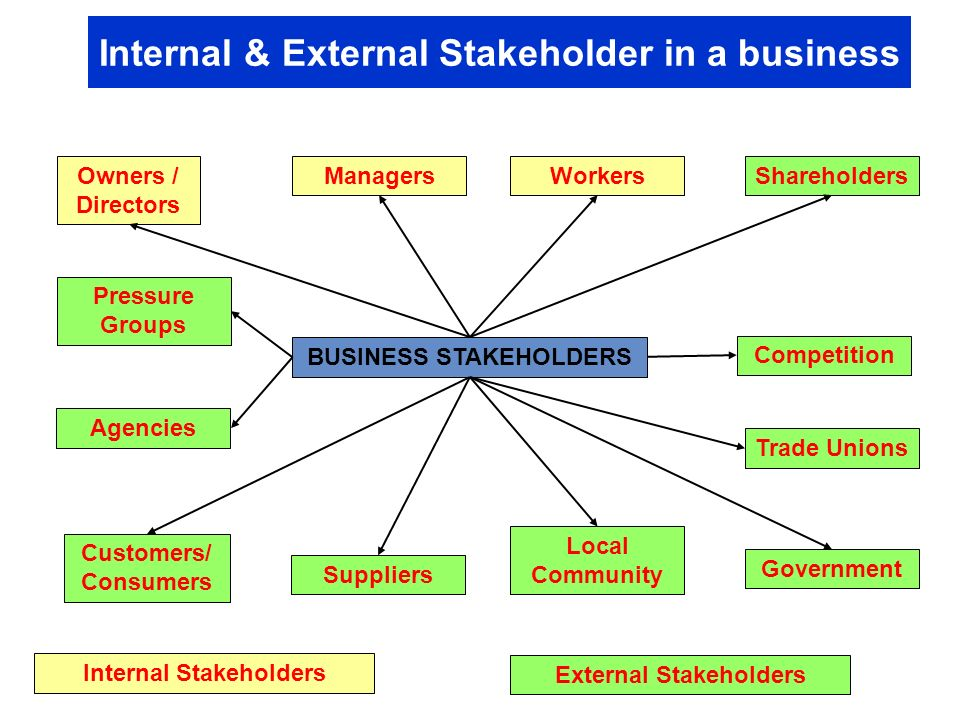 external stakeholder An internal stakeholder is someone who contributes to the company's execution or who makes decisions on behalf of the company examples of external and internal stakeholders internal stakeholders include employees, board members, company owners, donors and volunteers.