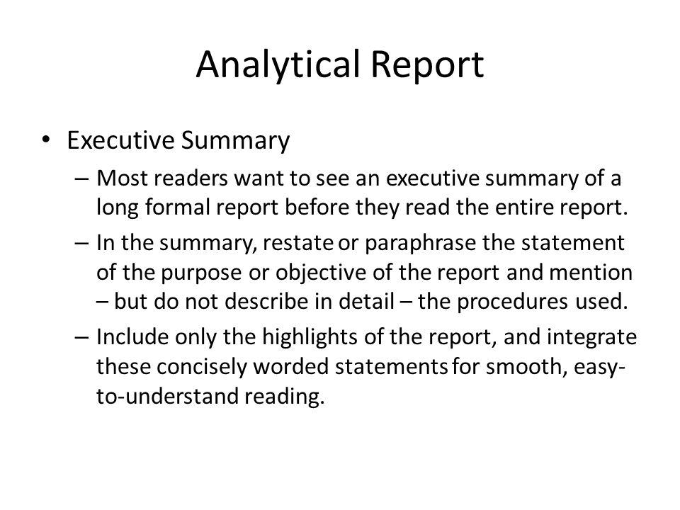 Nice 13 Analytical Report Executive Summary On Analytical Report Format