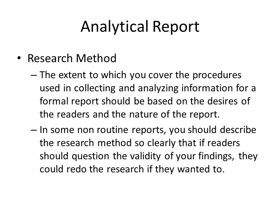 Formal Report ppt download – Analytical Report Format