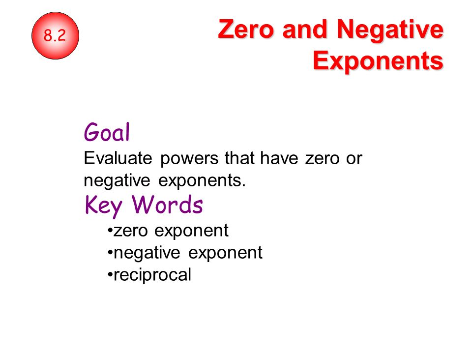 Zero And Negative Exponents Ppt Video Online Download. Zero And Negative Exponents. Worksheet. 8 2 Zero And Negative Exponents Worksheet At Clickcart.co