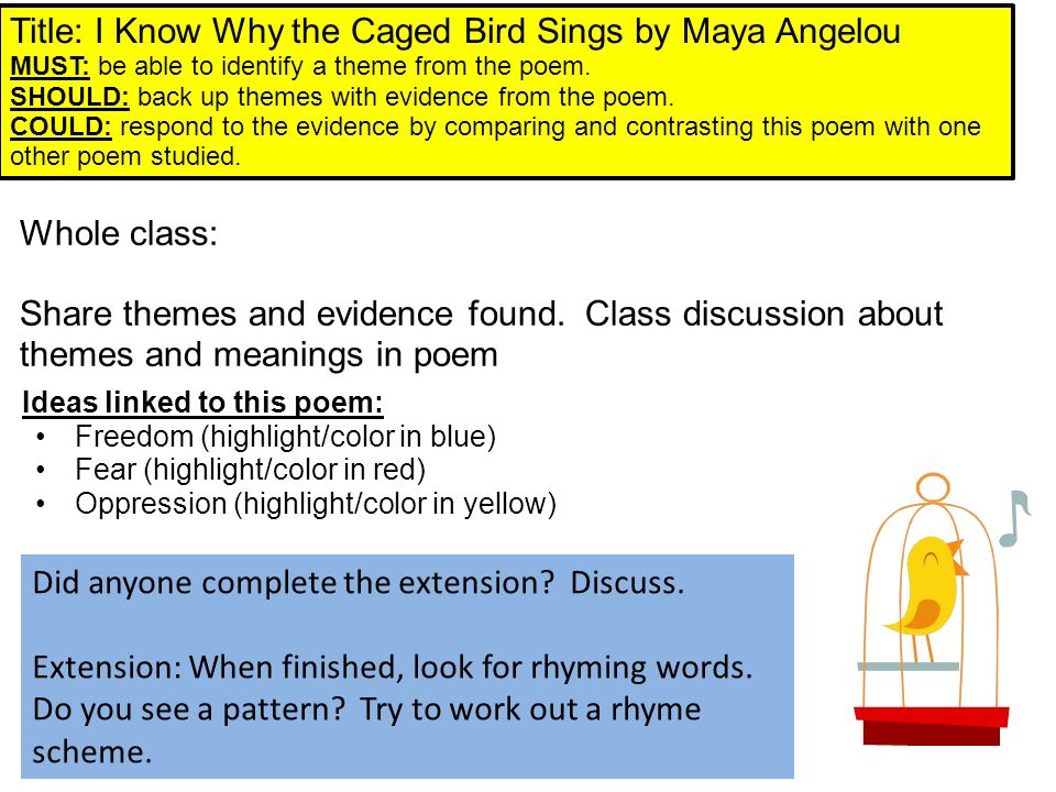 a literary analysis of i know why the caged bird sings by maya angelou Swanierenglish search this site english 9h 2011- 2012 caged bird by maya angelou : interpretive essay the caged bird sings with a fearful trill of.