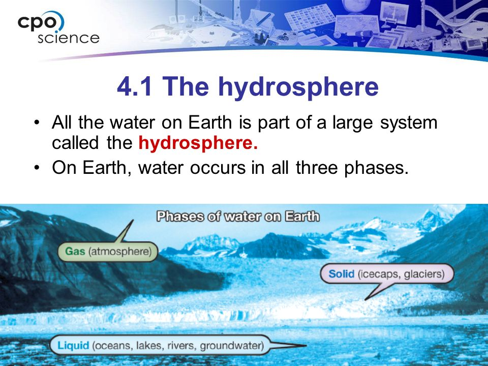 water and hydrosphere The hydrosphere is all of the water on earth,  area of study and career path that can help you find the school that's right for you  geosphere, hydrosphere,.