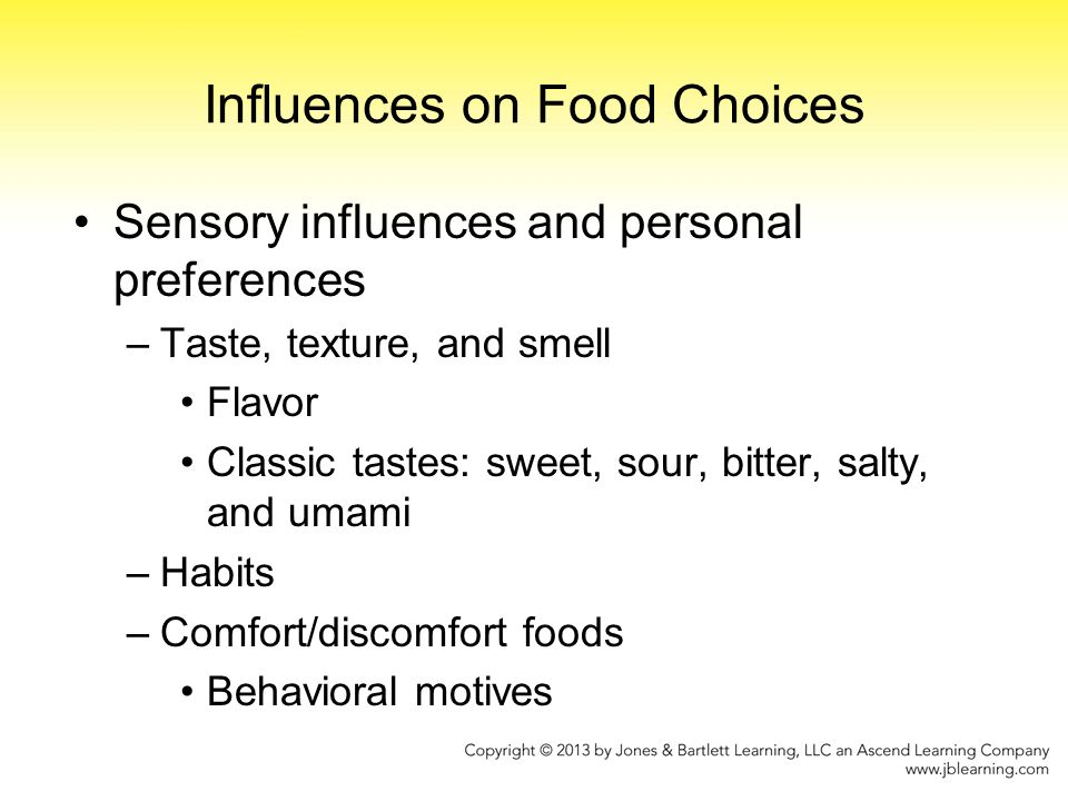 learning influences our food choices