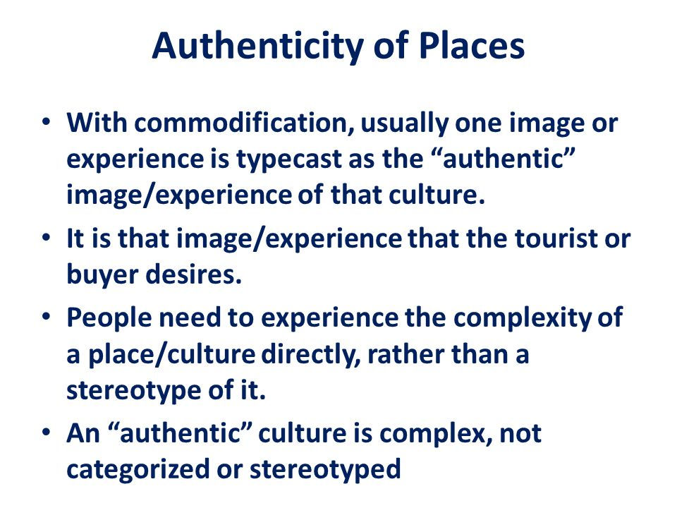 Authenticity of Places