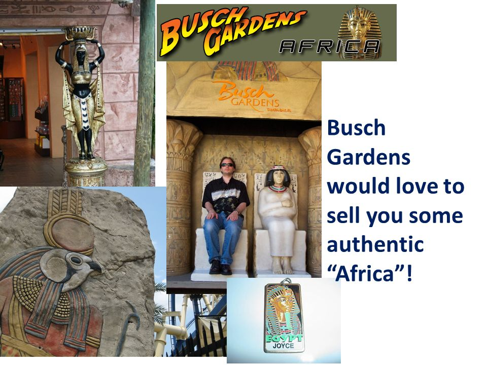 Busch Gardens would love to sell you some authentic Africa !