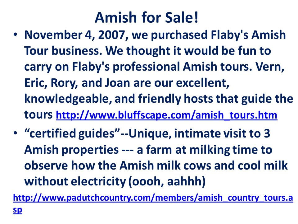 Amish for Sale!