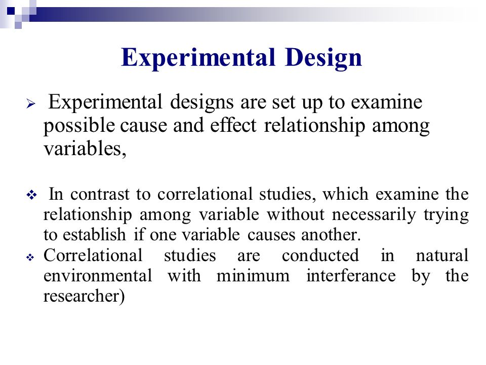 cause and effect relationship in experimental design