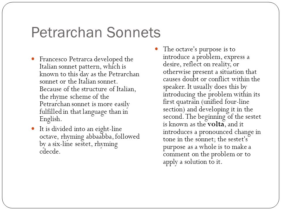 petrarchan sonnet how to write