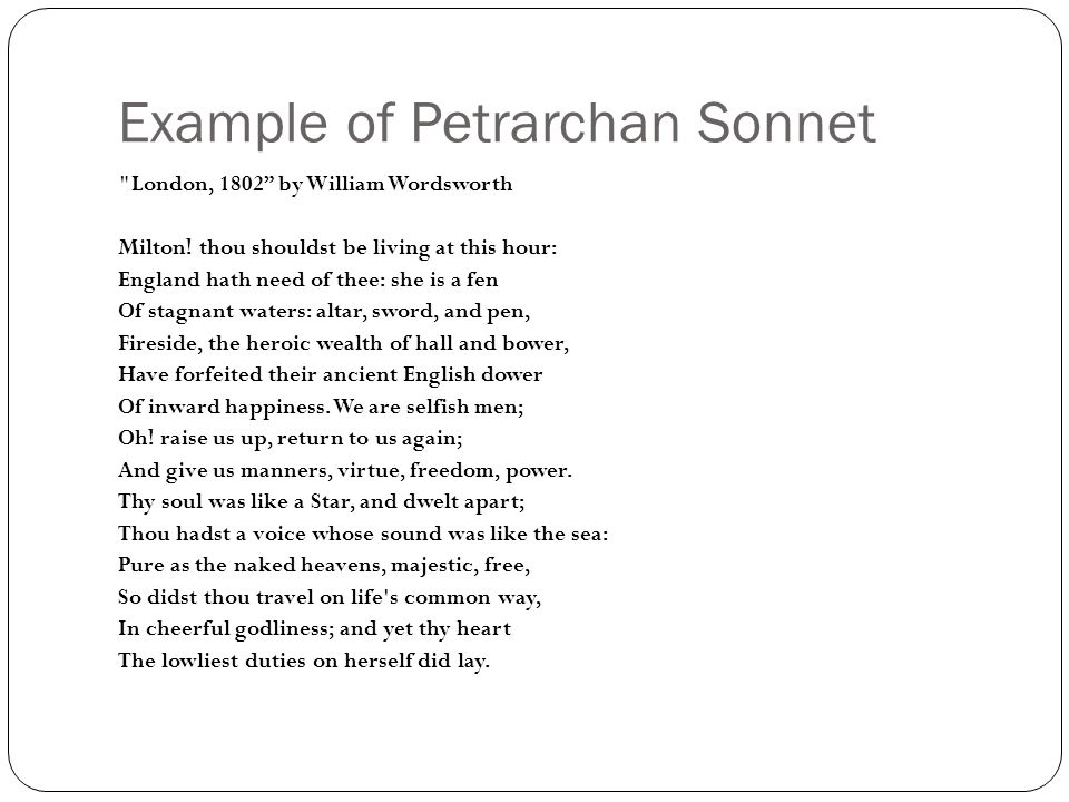 Sonnets A sonnet is a 14 lyric poem with a single theme ...