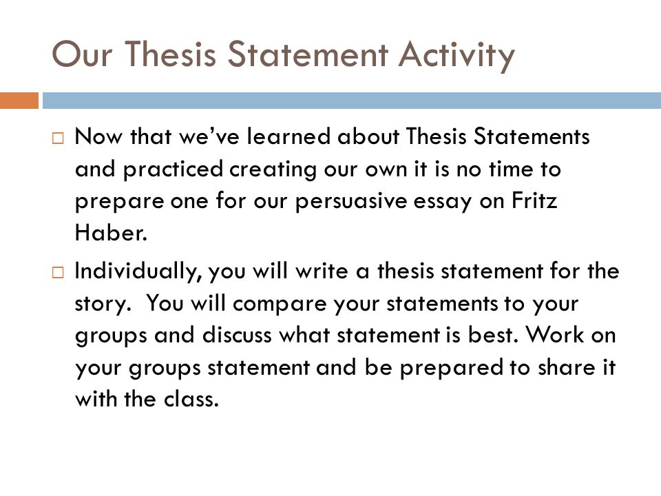 Sample English Essay Our Thesis Statement Activity English Essay Internet also How To Write A Proposal Essay Writing A Thesis Statement  Ppt Download English Persuasive Essay Topics