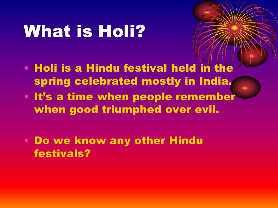 a hindu festival of colours ppt