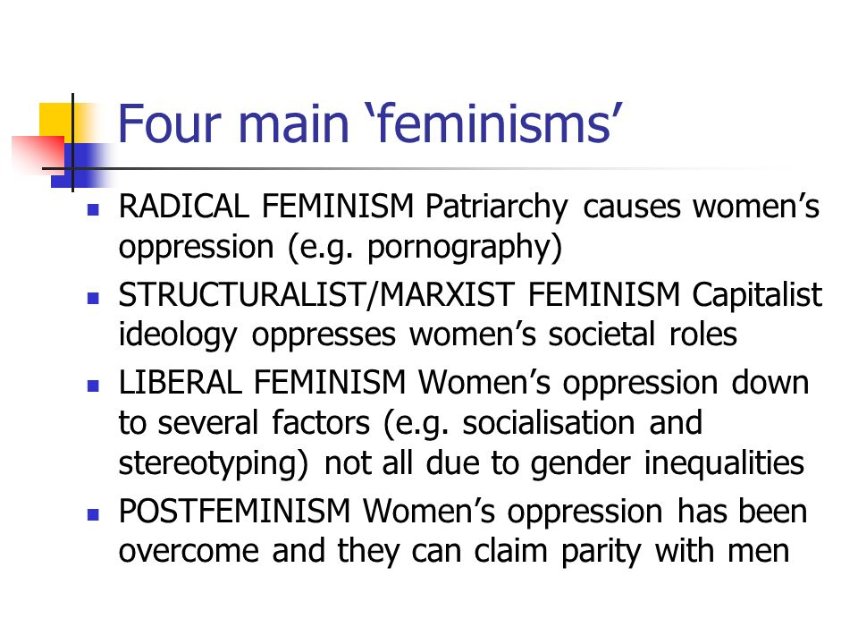 theories of patriarchy feminist ideology Because of this micro level study, feminist theory is sometimes grouped with symbolic  key to patriarchy is what might be called the dominant gender ideology.