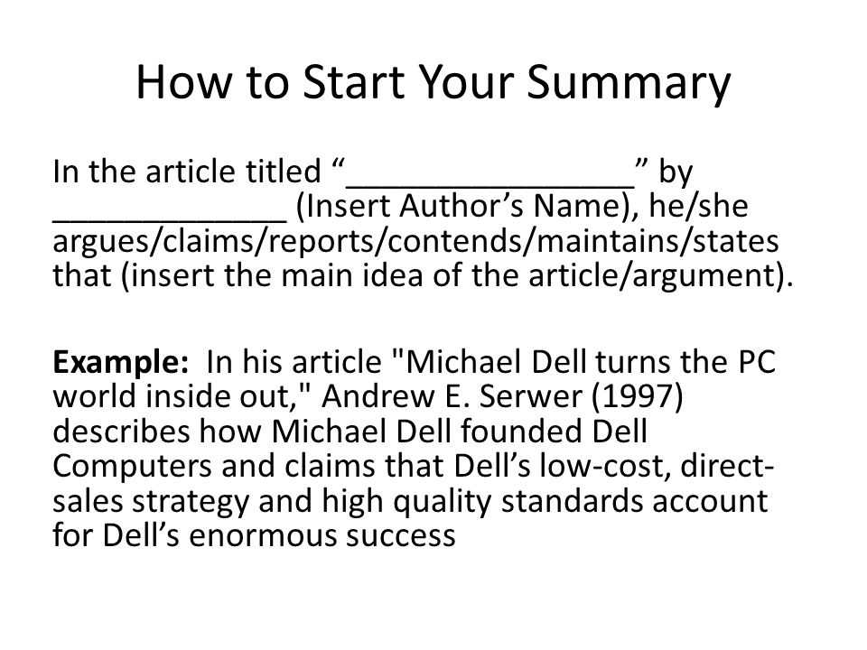 how to write a article summary template