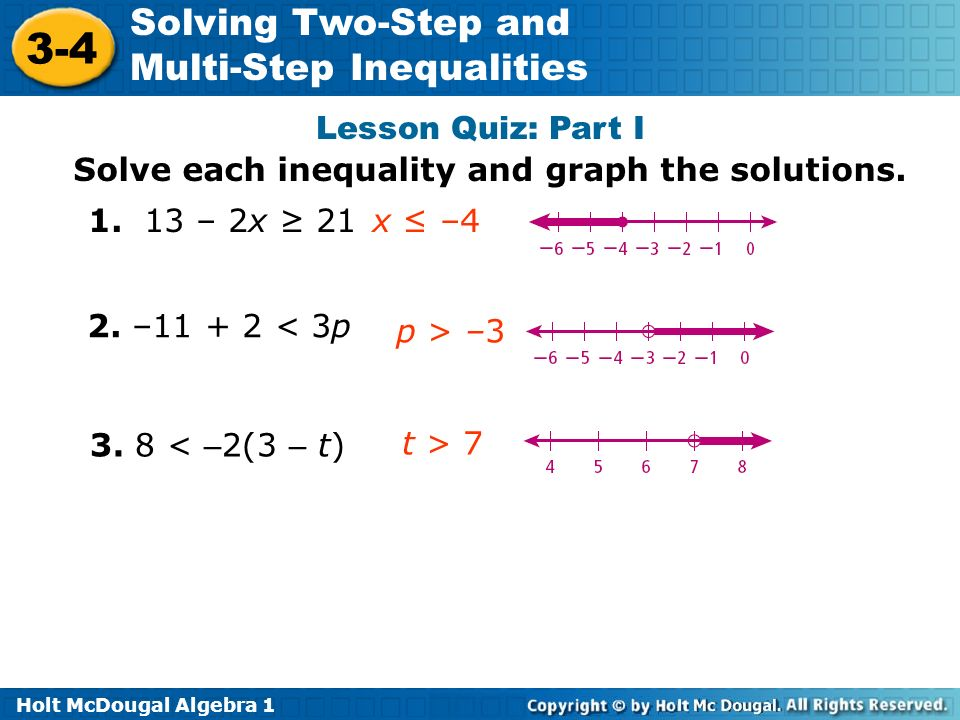 Lesson Quiz: Part I Solve each inequality and graph the solutions. 1. 13 – 2x ≥ 21. x ≤ –4. 2. –11 + 2 < 3p.